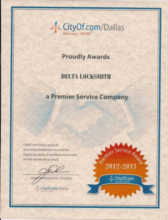 City Of Dallas Delta Locksmith Certificate