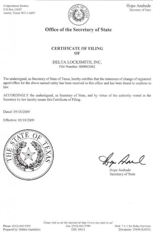 Delta-Locksmith-Certificate-of-Filling