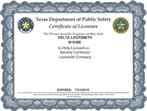 Delta Locksmith License 2013
