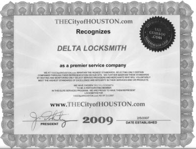 City Of Houston Certificate